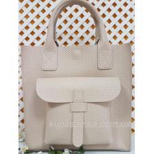 Бежевая женская сумка из натуральной тисненой кожи