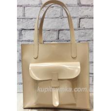 Бежевая сумка из натуральной матовой кожи с передним карманом
