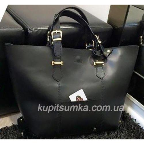 Женская сумка шоппер из натуральной кожи на регулируемых ручках чёрная
