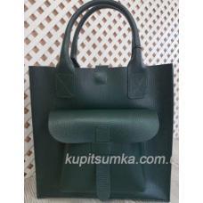 Классическая сумка шоппер из натуральной кожи Зелёная