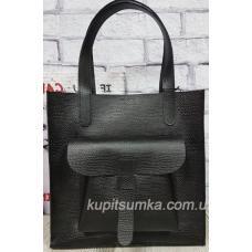 Классическая сумка шоппер из натуральной тиснённой кожи Чёрная
