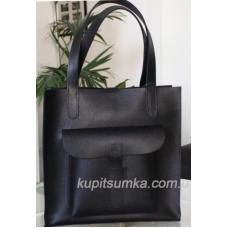 Классическая сумка шоппер из натуральной чёрной кожи с передним карманом