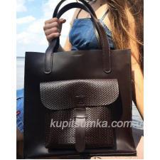 Коричневая сумка шоппер из натуральной тиснённой кожи
