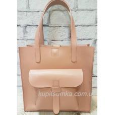 Розовая сумка из натуральной матовой кожи с передним карманом
