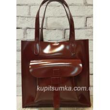 Роскошная женская сумка из натуральной глянцевой кожи бургундского цвета