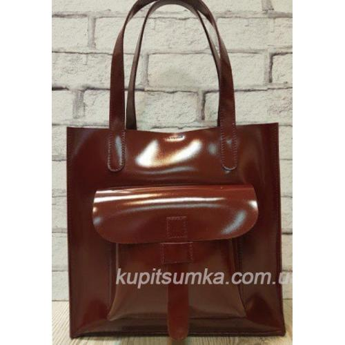 Сумка кожаная женская Shopper KE11A-10 burgundy