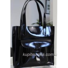 Роскошная женская сумка из натуральной глянцевой кожи чёрного цвета