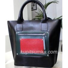Стильная деловая сумка из натуральной кожи с разноцветным передним карманом