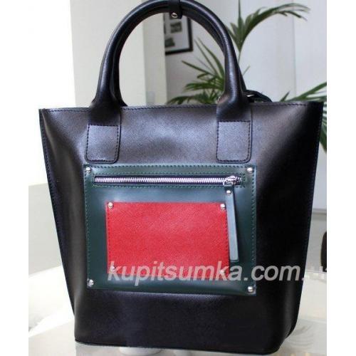 Кожаная женская сумка Carla CAR8A-4 Черный