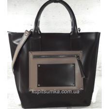 Стильная деловая сумка из натуральной кожи шоколадного цвета