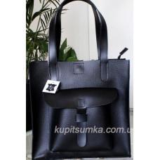 Чёрная женская сумка с передним карманом из натуральной кожи флотар