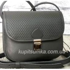 Небольшая женская сумочка из натуральной кожи серого цвета