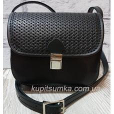 Небольшая женская сумочка из натуральной кожи чёрного цвета на два отделения