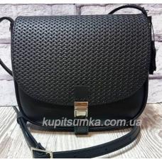 Черная сумка Boston из натуральной кожи с плетеным клапаном