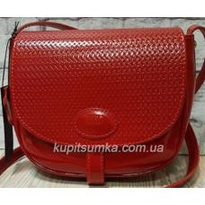 Женская кожаная сумка Boston красного цвета на длинном ремне