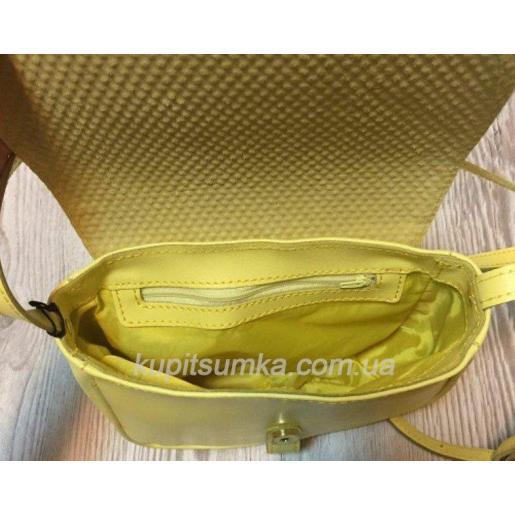 Женская кожаная сумка Boston лимонного цвета