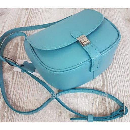 Женская бирюзовая сумка Boston из натуральной кожи