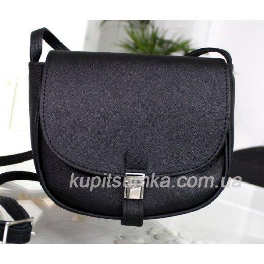 Женская черная сумка Boston из натуральной кожи
