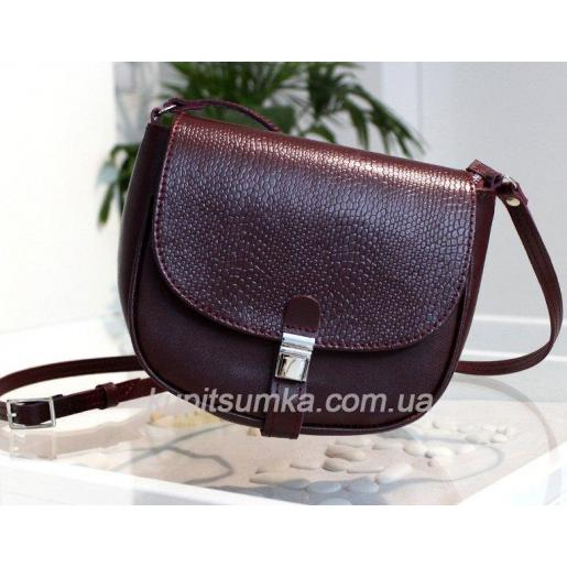 Женская кожаная сумка Boston цвета марсала