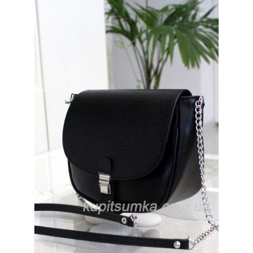 Женская кожаная сумка Boston чёрного цвета на длинной ручке