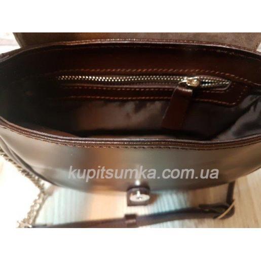 Женская кожаная сумка Boston шоколадного цвета