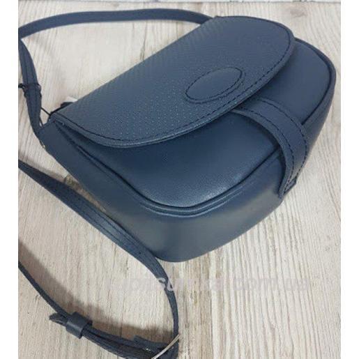 Женская кожаная сумка Boston синего цвета