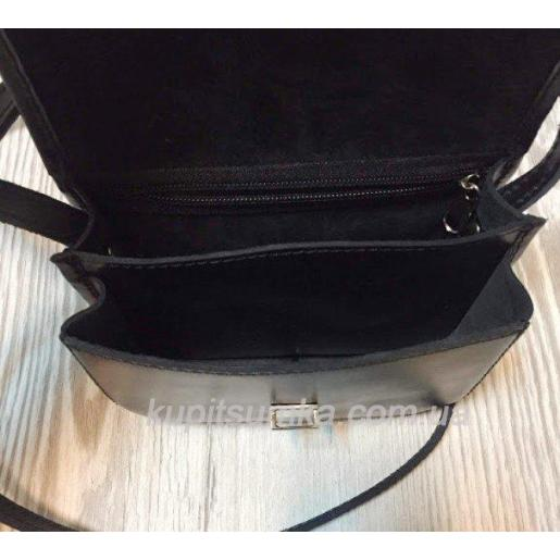 Небольшая сумочка из натуральной кожи чёрного цвета на два отделения