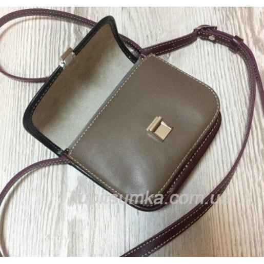 Женская сумка-мессенджер из кожи 23AE-16 Хаки