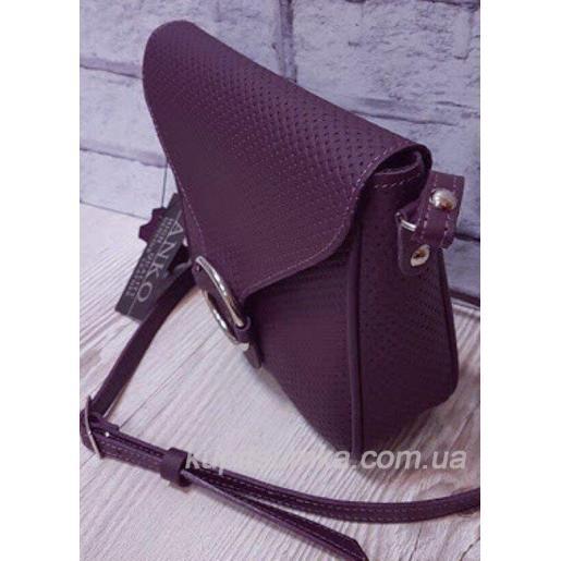 Женская сумка кросс - боди из натуральной кожи цвета баклажан