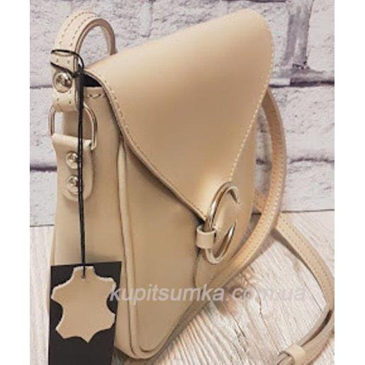 Женская сумка кросс - боди из натуральной мягкой кожи бежевого цвета