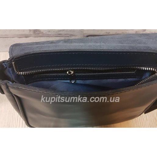 Женская сумка кросс - боди из натуральной матовой кожи синего цвета