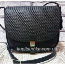 Женская сумка кросс - боди из натуральной матовой кожи чёрного цвета