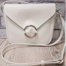 Женская сумка кросс - боди из натуральной мягкой кожи белого цвета