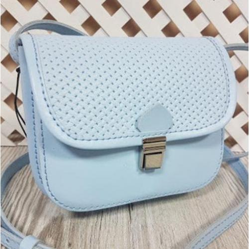 Женская сумка-мессенджер из кожи 23AE-56 Голубой