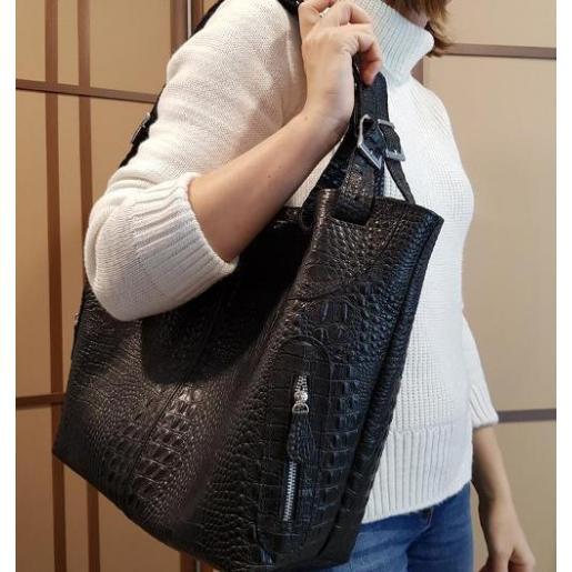 Женская кожаная сумка KROKO NAT30-1 Черный