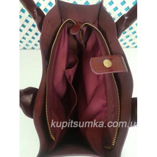 Женская бордовая кожаная сумка шоппер KE11A-69