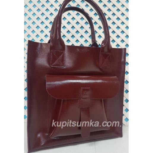 Классическая сумка шоппер из натуральной тиснённой кожи Марсала