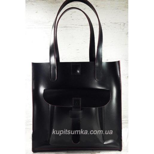 Чёрная сумка из натуральной кожи с отделкой бургунди