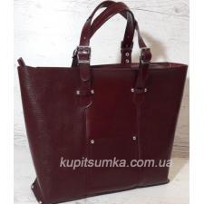 Женская деловая сумка из натуральной кожи марсала
