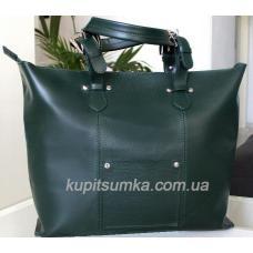 Женская сумка шоппер из натуральной зелёной кожи с передним карманом