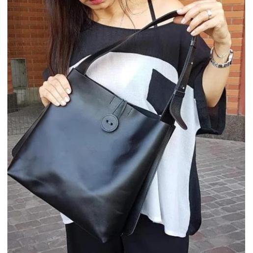 Женская кожаная сумка шоппер Babs 52A Черный