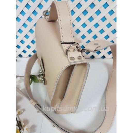 Стильная бежевая кожаная сумочка Barberini