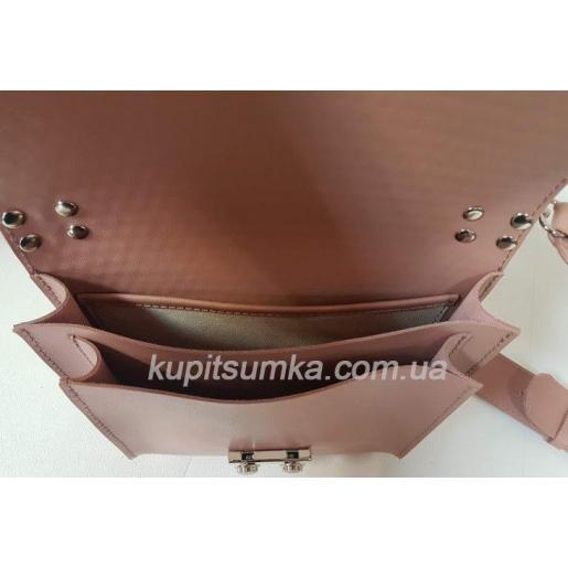 Стильная кожаная сумочка Barberini розовая плетёнка