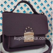 Стильная кожаная сумочка Barberini цвета баклажан