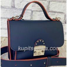 Стильная синяя кожаная сумочка Barberini