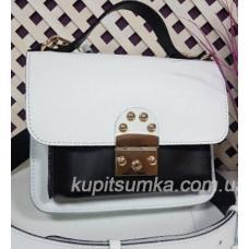 Стильная кожаная сумочка Barberini Чёрно - белая