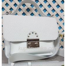 Стильная кожаная сумочка Barberini белая матовая с плетёнкой