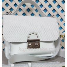 Стильная кожаная сумочка Barberini Белая матовая