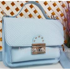 Стильная кожаная сумочка Barberini голубая плетенка