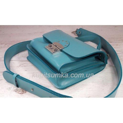Стильная бирюзовая кожаная сумочка Barberini